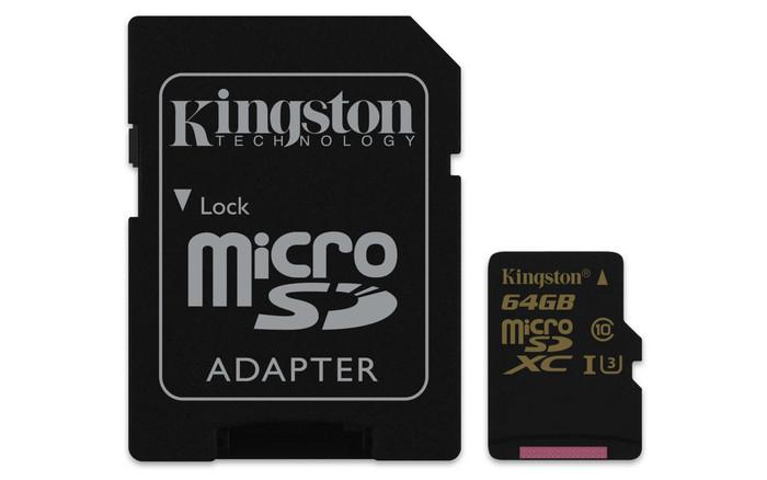 MicroSD Kingston Gold UHS-I Speed Class 3 (U3) для записи видео Ultra HD 4К