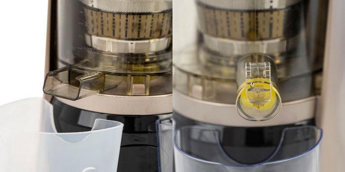 Жмых отдельно (слева), сок отдельно (справа)